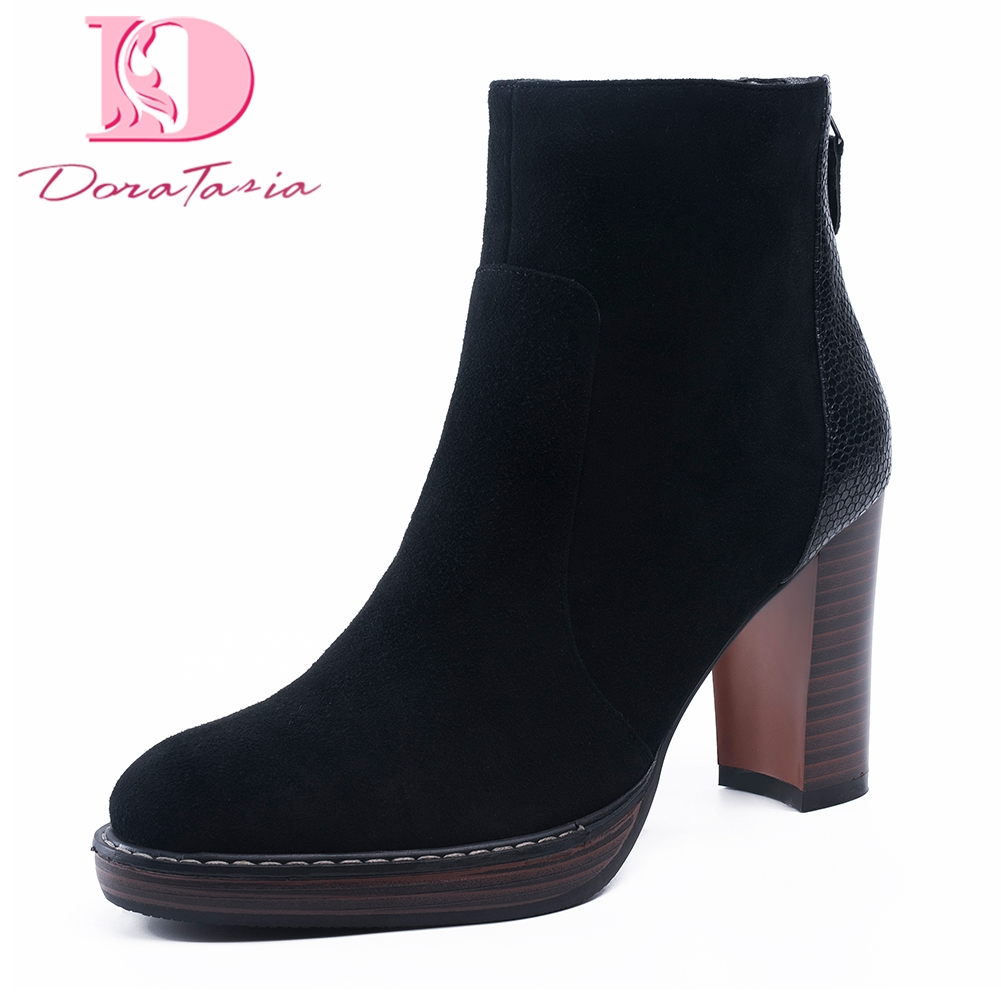 Doratasia Brand new Kid Suede leather Large Size 34-41  Shoes Woman Boots sexy High Heels Hot Sale Ankle Boots Female party bootDoratasia Brand new Kid Suede leather Large Size 34-41  Shoes Woman Boots sexy High Heels Hot Sale Ankle Boots Female party boot