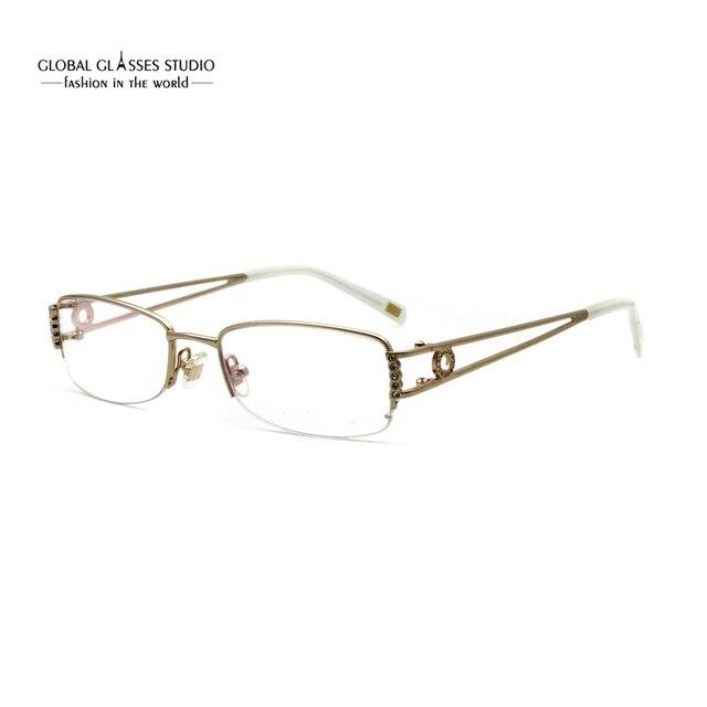 d69668a5571 Rectangular Lens Luxury Women Eyewear Gold Color Stone Metal Eyeglasses Half  Rim Slim Stainless Steel Optical Frame RM00466-C15