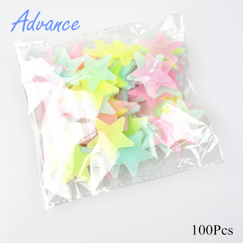 100pcs 3D Stars Glow In Dark Luminous Fluorescent Plastic Wall Sticker Home Decor Decal Wallpaper Decorative Special Festivel funlife 3d decorative falling stars mirror sticker for celling living room