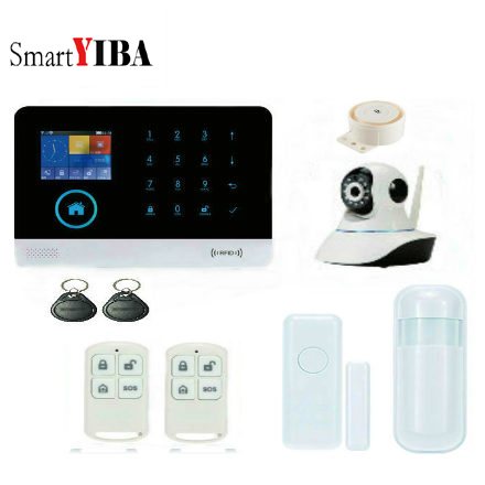 SmartYIBA Android IOS App Wireless&wifi GSM Home Security Alarm System (Support English/ES/DE/FR/RU voice) wireless smoke fire detector for wireless for touch keypad panel wifi gsm home security burglar voice alarm system