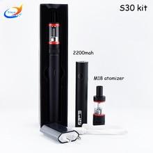 5ชิ้นบุหรี่อิเล็กทรอนิกส์S30 30วัตต์การควบคุมการไหลของอากาศM18เครื่องฉีดน้ำถัง2200มิลลิแอมป์ชั่วโมงแบตเตอรี่ปากกาVapeชุดเริ่มต้น