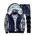 Clássico mens clothing set de boa qualidade terno de trilha 2016 homens agasalho de inverno moletom de manga comprida grossa camisola hoodies 5xl
