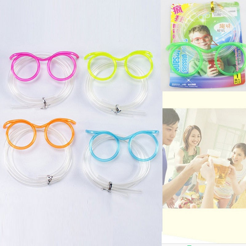 2017 new fun soft plastic tube tools flexible drinking toys straw funny glasses party joke essential