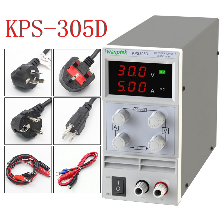KPS305D 30V 5A (110V-230V US EU) Single Channel adjustable Digital 0.1V 0.01A DC Laboratory power supply rps3020d 2 digital dc power adjustable power 30v 20a power supply linear power notebook maintenance