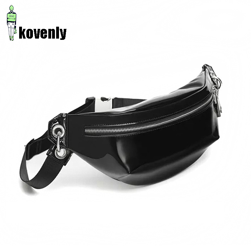 Luxury Women Waist Bag Patent leather Oval Shape Fanny Pack Ladies Belt Chest Bag Solid Phone Pouch Travel PU Shoulder Bags A202 chic letter u shape covered buckle solid color pu slender belt for women