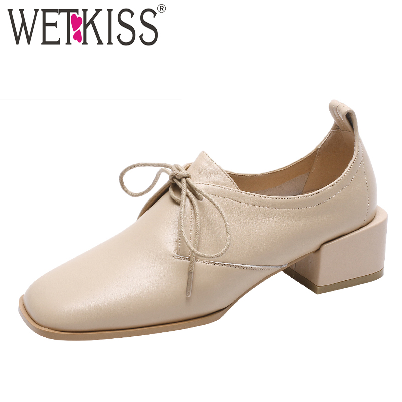 WETKISS Cross Tied Cow Leather Pumps Women Square Toe Footwear Low Thick Heels Shoes Female Fashion