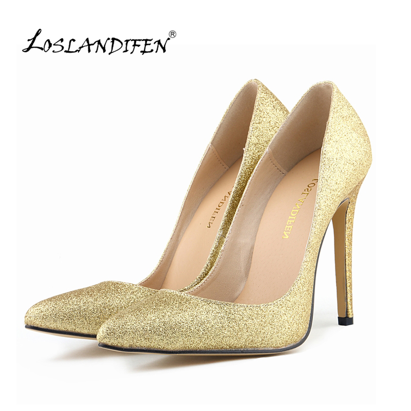 LOSLANDIFEN Sexy Fashion Pointed Toe High Heels Women Pumps Glitter  Spring Party Gold  Wedding Pumps Big Size 35-42 302-1FLASH