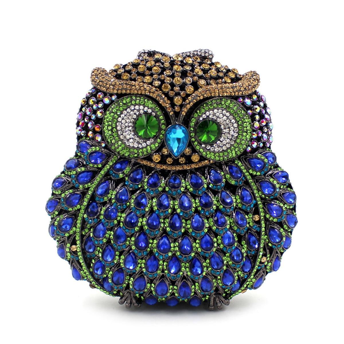 Boîte cadeau hibou diamant soirée femmes sac fête cristaux embrayages Miaudieres mariage sacs à main dames évider sacs à main Bolsas