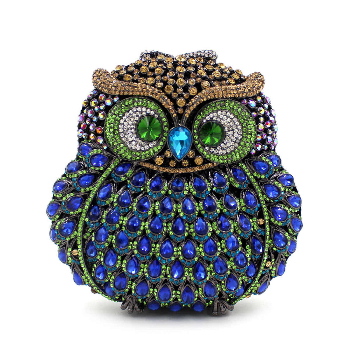 GIFT BOX Owl Diamond Evening Women Bag Party Crystals Clutches Miaudieres Wedding Purses Ladies Hollow Out Handbags Bolsas