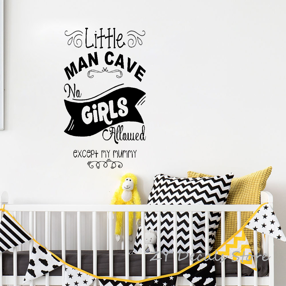 US $7.88 26% OFF Childrens Bedroom Fun Decor Wall Stickers Word Little Man  Cave Nursery Door Room Decoration Wall Decal for Boys Notice Sign S765-in  ...