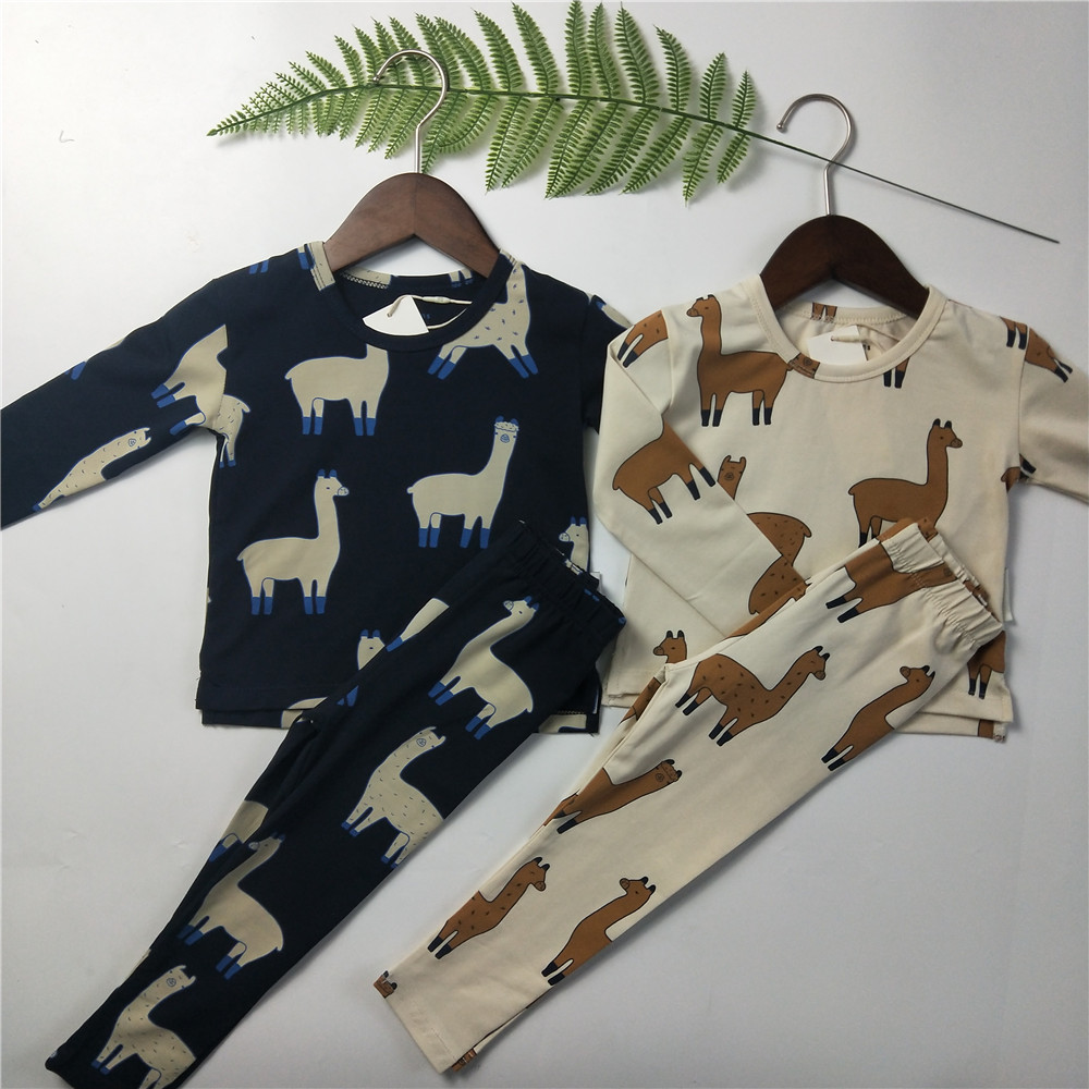 BOBOZONE Llama Relaxed long sleeve Tee+pants for baby boys girls kids clothing