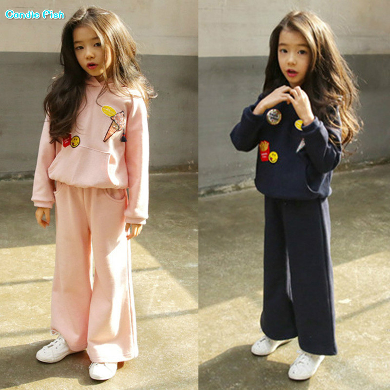 Children's clothing 2017 autumn and winter new girls casual hooded sweater with thigh pants set two-piece baby children s clothing boys and girls set sweater autumn winter warm new fashion gold velvet leisure sports two piece a8888