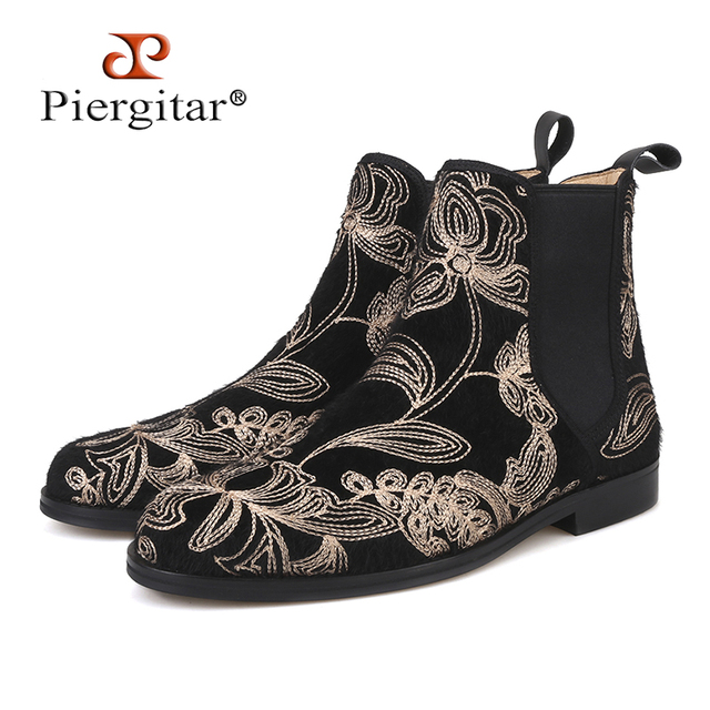 Piergitar 2018 New arrival Handmade classic style Men CHELSEA Boots British style Horsehair Men's casual boots Martin boots