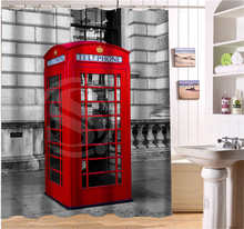 Custom London Telephone Box And Street Scenery New Shower Curtain 3D Waterproof Bath Curtain 12 Hooks For The Bathroom(China)