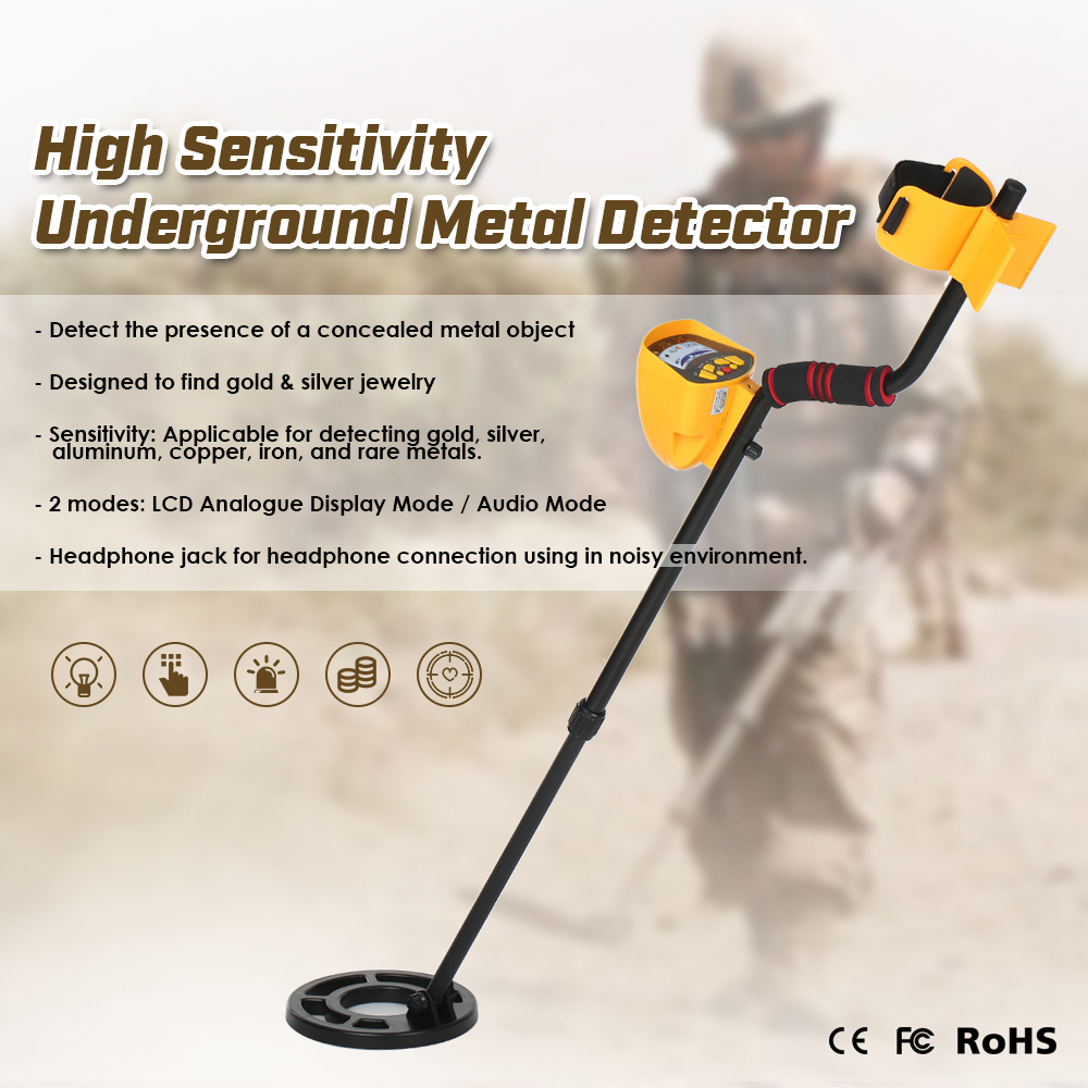 High Sensitivity Metal Detector Gold Digger Treasure Hunter Track Seek Nugget Detector Finder Scanner with LCD Backlight Display