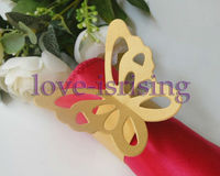 Free Shipping-50pcs/lot Gold Color Butterfly Napkin Rings Wedding Bridal Shower For Wedding Decoration