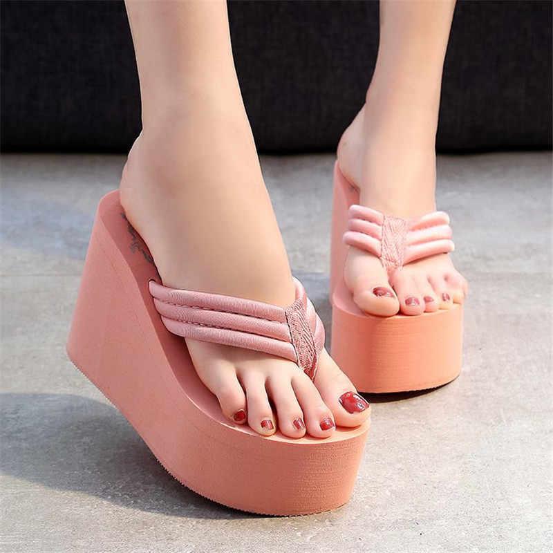 11CM yüksek Flip flop el yapımı hawaii plaj terlikleri kadın yaz sandalet açık terlik topuklu ayakkabılar kama platformu Size35-41