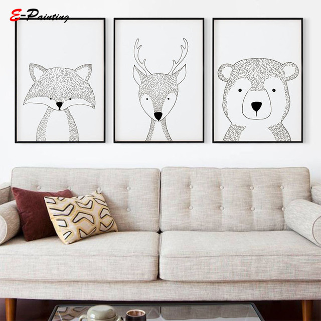 Us 3 95 21 Off Aliexpress Nordic Canvas Wall Art Painting Woodland Nursery Prints Boys S Animal Black And White Sketch Print Poster