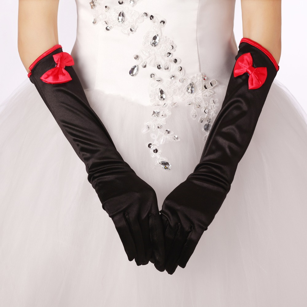 Black gloves with bow - Long Finger Red Bow Wedding Gloves Accessories Black Bridal Gloves For Black And White Wedding Dress