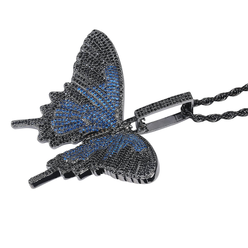 Image 3 - JINAO New Iced Out Insect Multicolor Butterfly Pendants&Necklaces Micro Pave Cuban Zircon Stone Pendant Necklace Hip Hop Gift-in Pendant Necklaces from Jewelry & Accessories