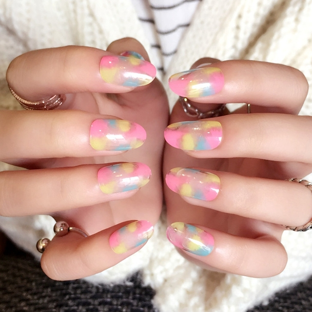 Ink Drawing Rainbow Fake Nails Colorful Leopard Pattern Clear Oval