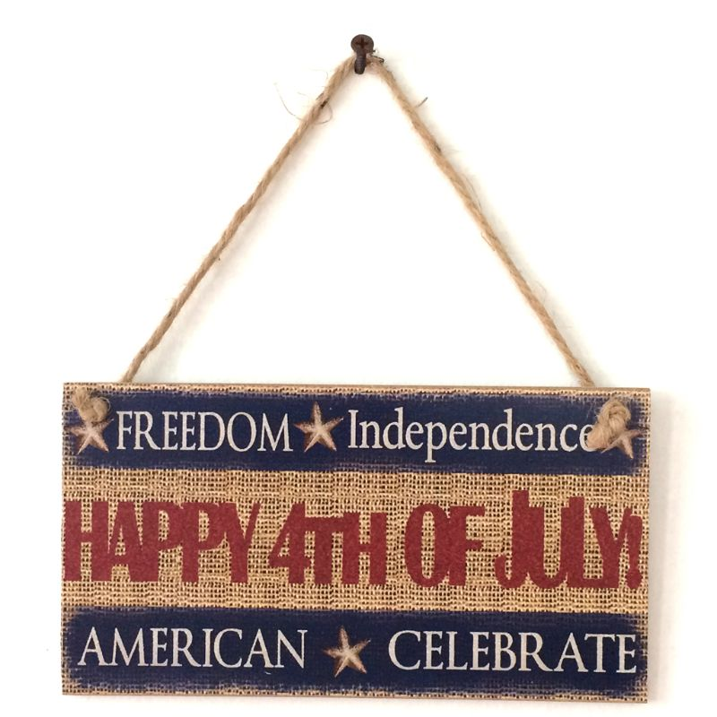 Rustic Wooden Hanging Plaque Sign Board American Independence Day Happy 4th Of July Room Wall Door Home Decoration Gift-in Plaques & Signs from Home & Garden