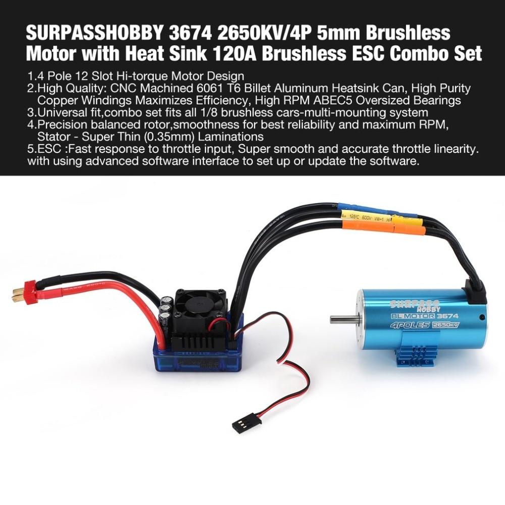 SURPASSHOBBY 3674 2650KV/4P 5mm Brushless Motor with Heat Sink 120A Brushless ESC Combo Set for 1/8 RC Car Spar Part fz цена 2017