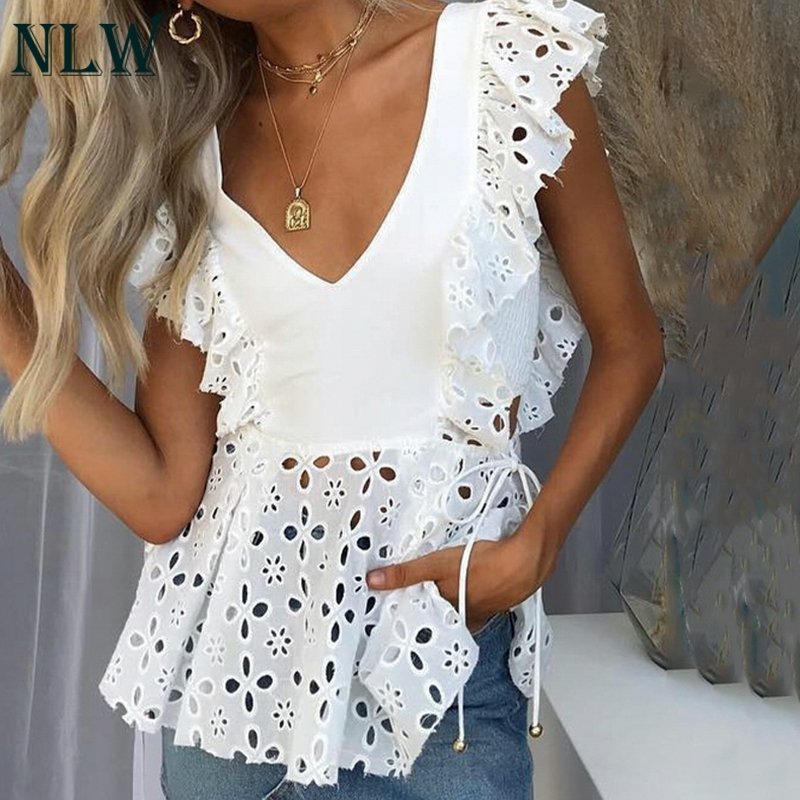 NLW Summer Elegant White Embroidery Women   Blouse     Shirt   Ruffle Sexy Sleeveless   Blouses   Casual Hollow Out Female Tops