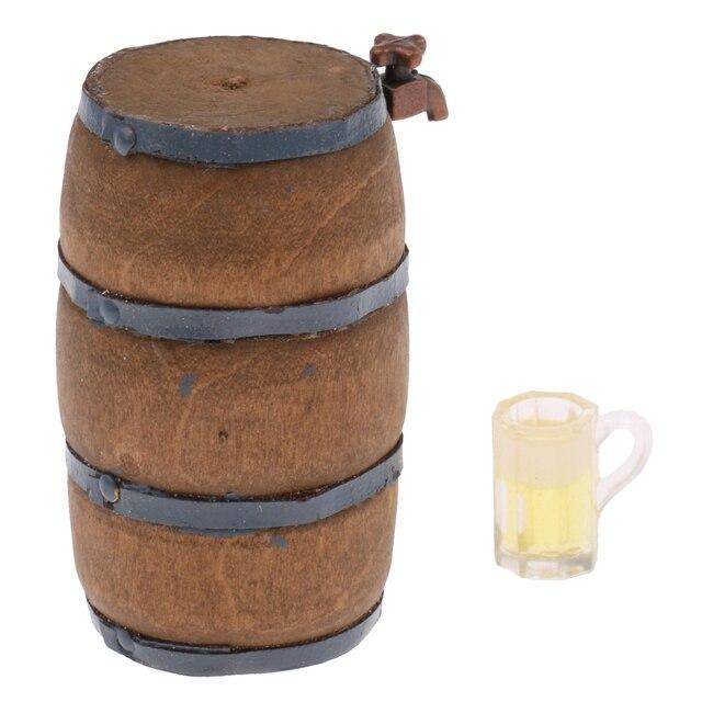 Dollhouse Miniature Beer Barrel Beer Cask Beer Keg Wine Glass 1:12 ...