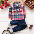 The New 2016 Spring/Autumn Children's Wear Fashion Clothes Boy Set Checked Dress Baby Suit Boy Group Of Children