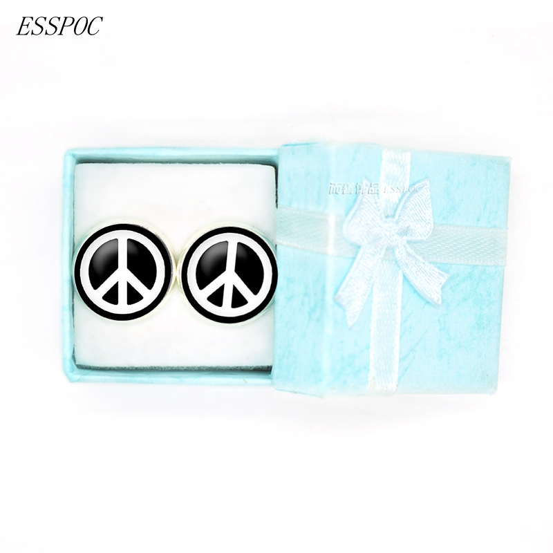 Hippie Style Peace Symbol Cufflinks Silver Round Peace Sign Cuff Links Men Suit Accessories Fashion Wedding Cufflinks