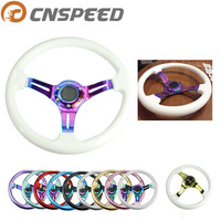 CNSPEED Car Sport Steering Wheel 350mm 14 inch Universal Walnut white red Classic Abs With Neo Chrome Spokes 6 Holes YC100437