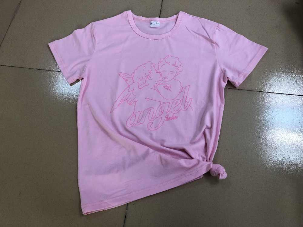 Angel 90 S Berwarna Merah Muda Pakaian T-shirt Lucu Gaya Estetika Pink Grafis Camisetas Feminis Angel Penawaran Vintage Christian T Kemeja