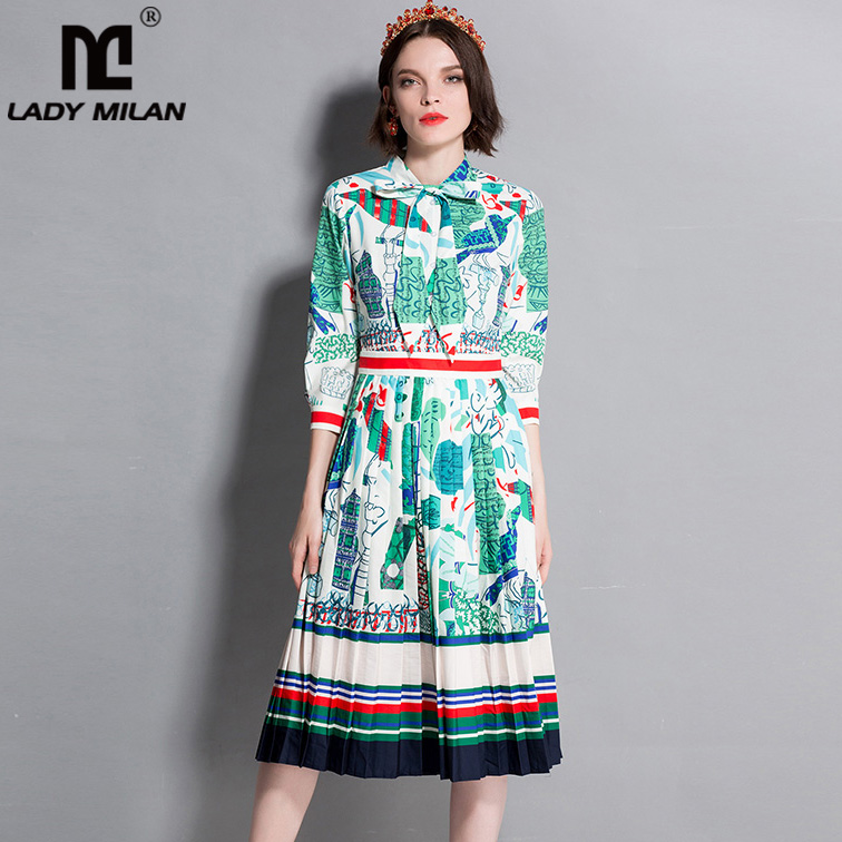 New Arrival 2018 Womens Bow Detailing 3/4 Sleeves Floral Printed Pleated Striped Elegant Fashion Casual Runway Dresses