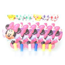 6Pcs/lot Noise Maker Minnie Cartoon Theme Blowout Plastic Whistle Kid's Birthday Party Fittings Party Supplies Decorative Toys(China)