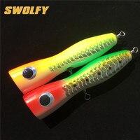 Swolfy 1 개 16 센치메터/68 그램 20 센치메터/107 그램 3D 눈 노란색 녹색 낚시 미끼 바닷물 큰 게임 최고 물 나무 미끼 비틀 비틀