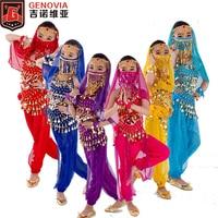 6 pcs Kids Girls Belly Dance Dress Sparkle Coins Tops Pants Dance Carnival Outfits Chiffon Performance Set Halloween