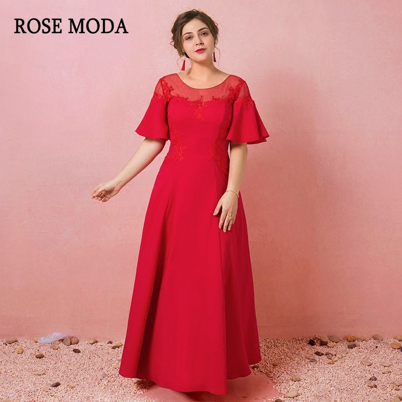 Rose Moda Red Long Formal Plus Size   Evening     Dress   Floor Length   Evening     Dresses   with Short Sleeves Real Photos