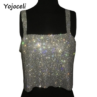 Yojoceli Shinny Bling Rhinestone Camisole Top Women Summer Party Beach Crop Top 2017 Fashion Back Split