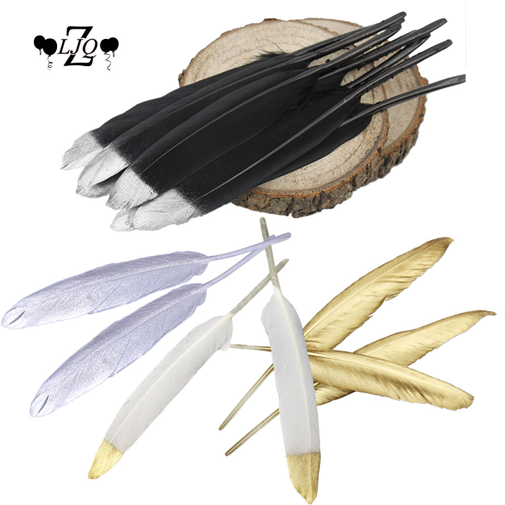 ZLJQ 20p Goose Feather DIY Banner Buntings Gold Glitter Powders Wedding Garlands Cake Topper Dream Catcher Kids Room Decoration