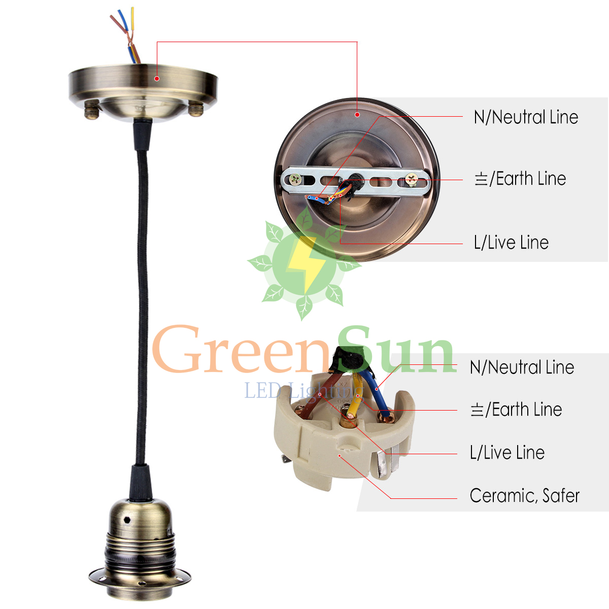 E27 Retro Lamp Holder Pendant Light Cord Set Ceiling Socket Wire That Is In The From Switch Now To Rose Base With 135m Cable Bases Lights Lighting On