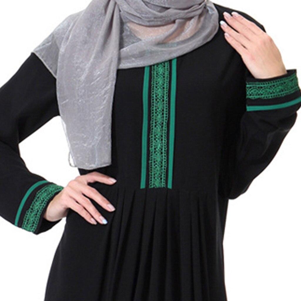 Muslim Women Trimmed Front Abaya Muslim Max Kimono Kaftan Arab Islamic Middle East Solid Print Long Sleeve Abaya Dress 4.10