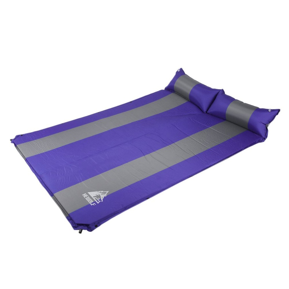 Hewolf 2 Persons Automatic Inflatable Air Mattress Cushion Outdoor Hiking Camping Mat Thickening Self-Inflating Sleeping Pad+bag hewolf outdoor 2 person automatic inflatable mattress cushion picnic mat inflating hiking camping travel beach moisture pad