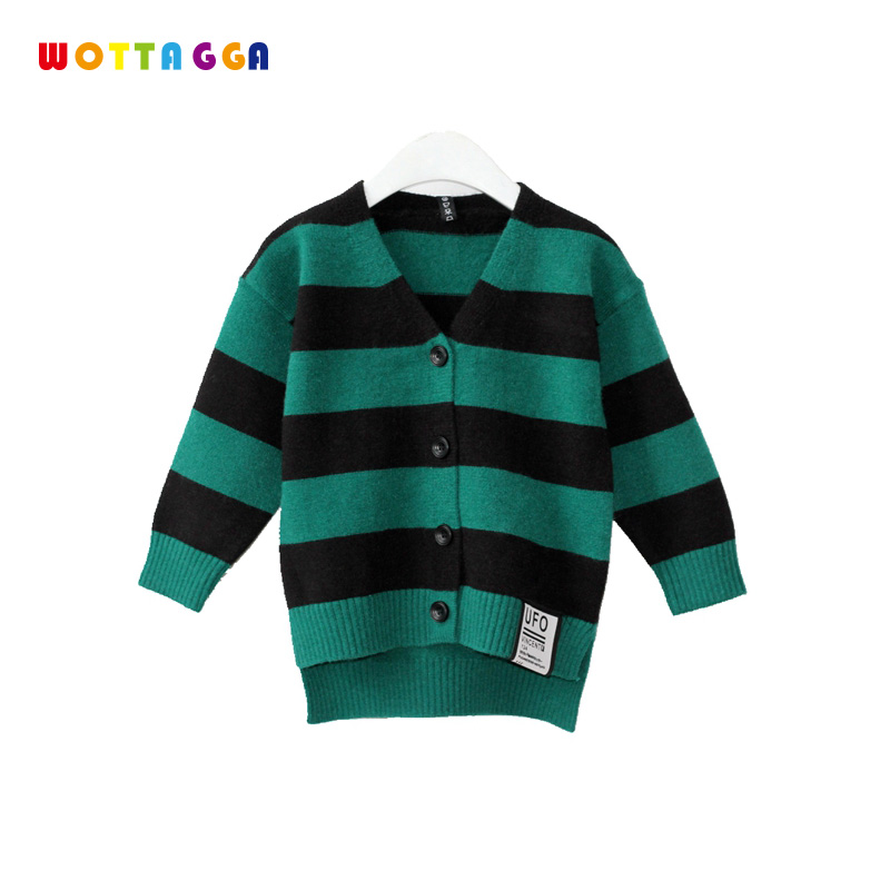 WOTTAGGA Sweater Kids Stripe White Green Yellow Boys Sweater Knitted Fashion Girls Cardigan Coat 2018 Autumn цена 2017
