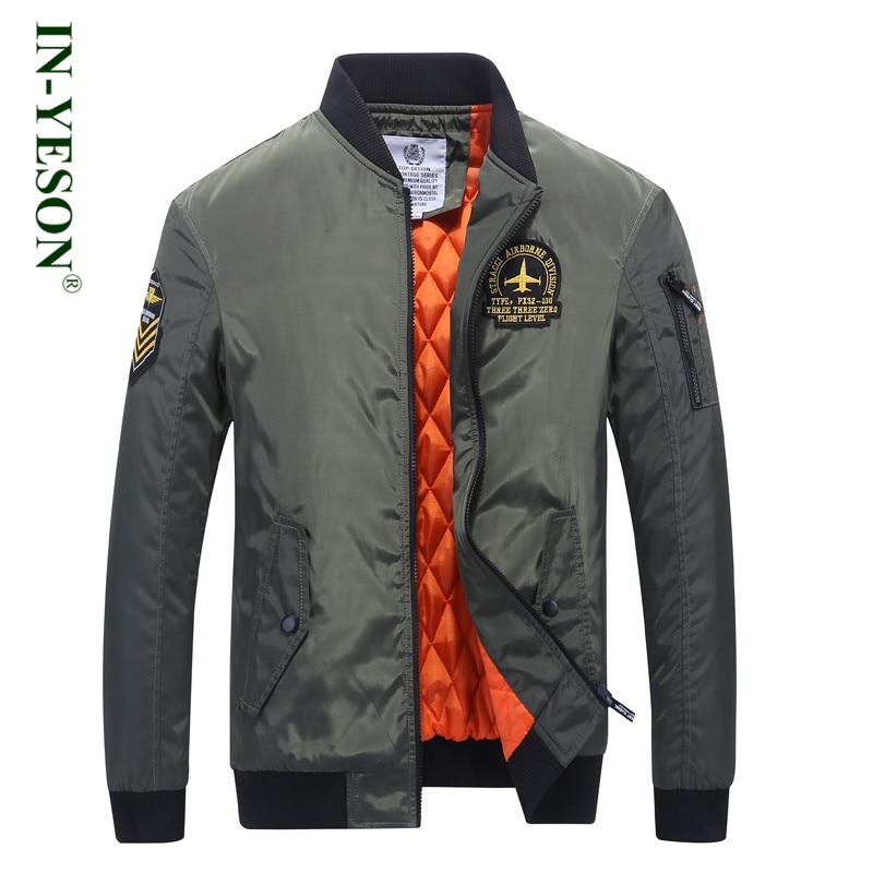 新着ブランド IN YESON 厚い爆撃機ジャケット男性秋冬軍ミリタリーパーカー男性の手紙刺繍飛行パイロットジャケット  グループ上の メンズ服 からの ジャケット の中 1