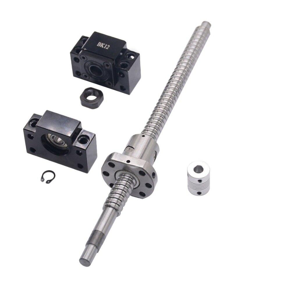 Ensemble SFU1605: vis à billes roulées SFU1605 C7 avec extrémité usinée + écrou à billes 1605 + support d'extrémité BK/BF12 + coupleur pour pièces de CNC RM1605