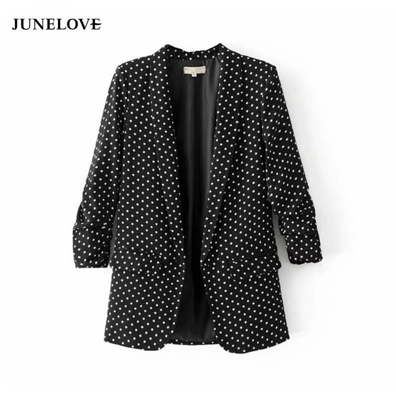 JuneLove 2017 black blazer coat jacket women casual autumn folded sleeve OL blazer jacket polka dot print coat female outwears