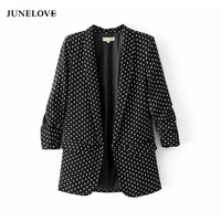 JuneLove 2017 czarna marynarka płaszcz jacket women casual jesień składane rękawem OL blazer jacket polka dot druku płaszcz kobiet outwears