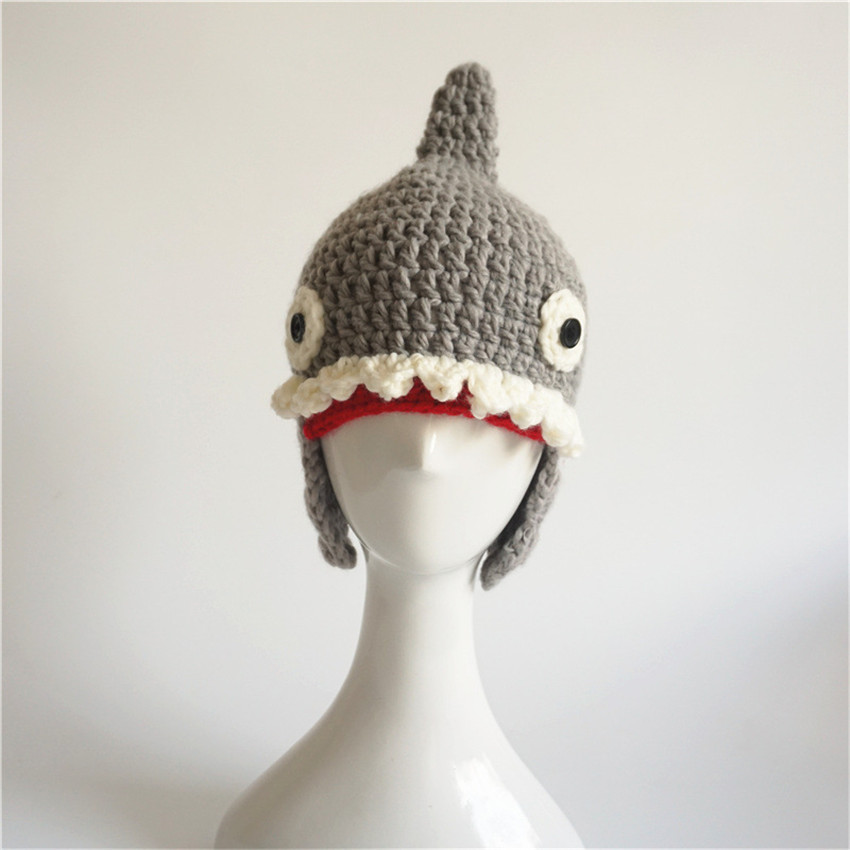21355f072e6 Novelty Autumn Winter Handmade Crocheted Children Shark Attack Cute Cool  Beanies Boy Girl Caps Halloween Funny Hats Shower Gifts-in Hats   Caps from  Mother ...