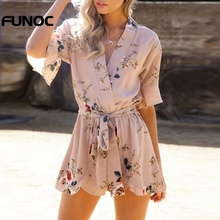 90ba5f9642 Funoc New Summer V-Neck Sexy   Elegant Floral Print Ruffles Playsuits Women  chiffon overalls Beach Boho Girls Rompers Jumpsuits